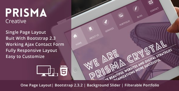 Prisma - One page Responsive Creative HTML5 Theme