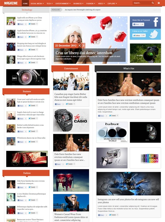 Shaper Magazine - Responsive Magazine Template for Joomla 3.0