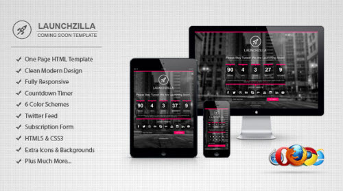 Launchzilla - Responsive Coming Soon HTML