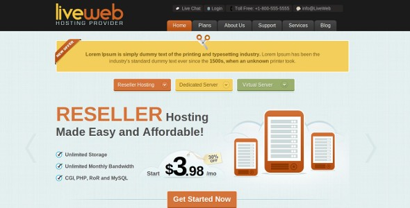 LiveWeb - WordPress Web Hosting Template v1.0