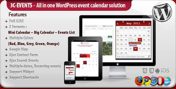 3C-Events : Wordpress All-in-One Event Calendar v1.7