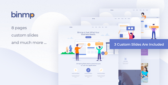 Binmp - App and Software Landing PSD Template