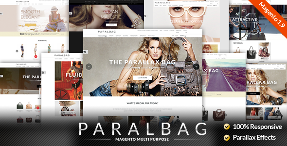 Responsive Magento Themes - Parallax Handbags Bags Store