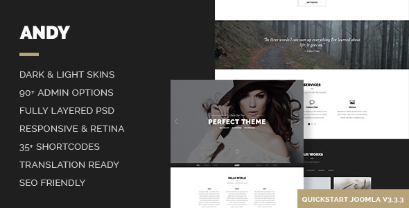 Andy – Elegant Creative Minimal One Page Template