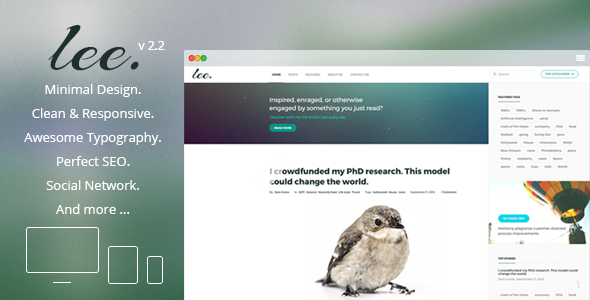 Lee Blog v2.2 - Minimal and Creative WordPress Theme