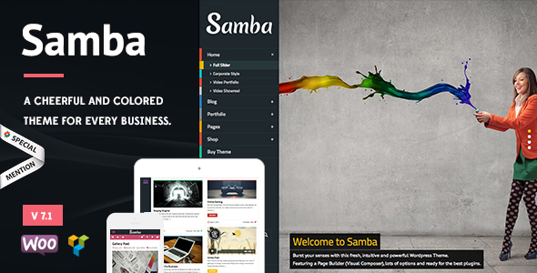 Samba v7.0 - Colored WordPress Theme