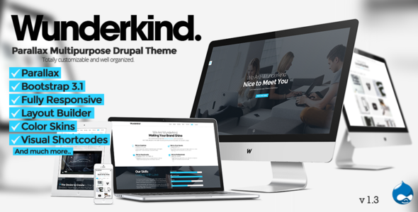 Wunderkind v1.5 - One Page Parallax Drupal 7 Theme